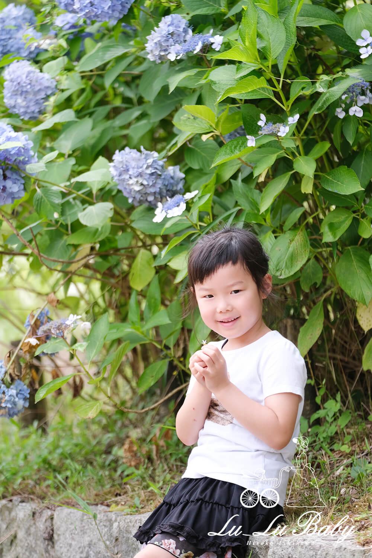 紫陽花と女の子