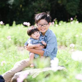 自然の中で親子撮影会 兄弟フォト