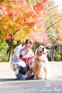 愛犬と記念撮影